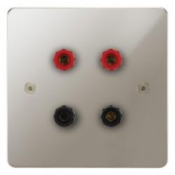 Focus SB Horizon HPN67.2 2 gang speaker outlet (2 red 2 black 4mm socket) in Polished Nickel