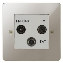 Focus SB Horizon HPN80.3W triplex TV/FM/Satellite outlet in Polished Nickel with white inserts