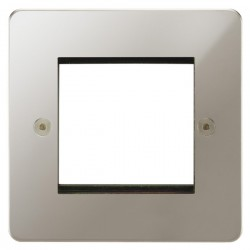 Focus SB Horizon HPNEUR.2 single aperture plate for two single euro modules in Polished Nickel