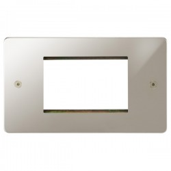 Focus SB Horizon HPNEUR.3 double aperture plate for three single euro modules in Polished Nickel