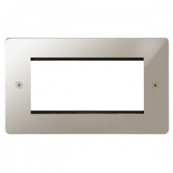 Focus SB Horizon HPNEUR.4 double aperture plate for four single euro modules in Polished Nickel