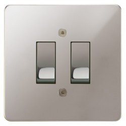 Focus SB Horizon HPS11.2 trimless 2 gang 20 amp 2 way rocker switch in Polished Stainless