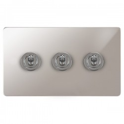 Focus SB Horizon HPS14.3 3 gang 20 amp 2 way toggle switch in Polished Stainless