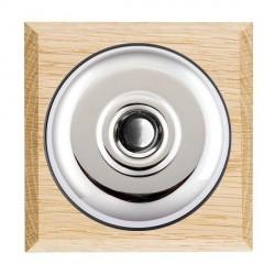 Hamilton Bloomsbury Chamfered Light Oak Plain Bright Chrome Bell Push Toggle with Black Insert