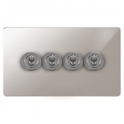 Focus SB Horizon HPS14.4 4 gang 20 amp 2 way toggle switch in Polished Stainless