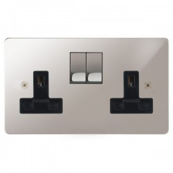 Focus SB Horizon HPS18.2B 2 gang 13 amp switched socket in Polished Stainless with black inserts