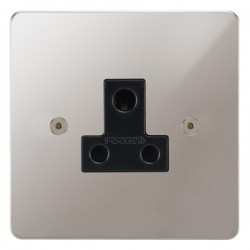 Focus SB Horizon HPS20.1B 1 gang 5 amp unswitched socket in Polished Stainless with black inserts
