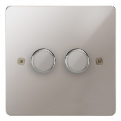 Focus SB Horizon HPS21.2 2 gang 2 way 250W (mains and low voltage) dimmer in Polished Stainless