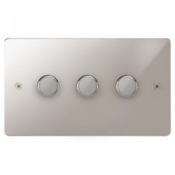 Focus SB Horizon HPS21.3 3 gang 2 way 250W (mains and low voltage) dimmer in Polished Stainless