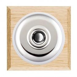 Hamilton Bloomsbury Chamfered Light Oak Plain Bright Chrome Bell Push Toggle with White Insert