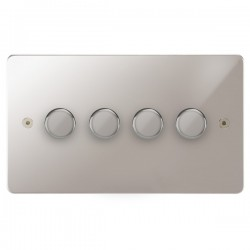 Focus SB Horizon HPS21.4 4 gang 2 way 250W (mains and low voltage) dimmer in Polished Stainless