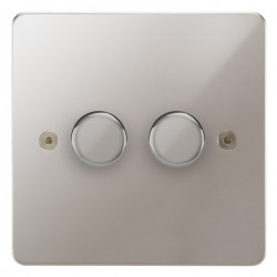 Focus SB Horizon HPS22.2 2 gang 2 way 400W (mains and low voltage) dimmer in Polished Stainless
