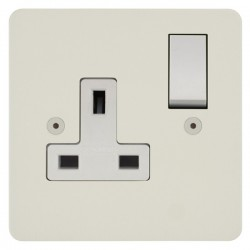 Focus SB Horizon HPW18.1W 1 gang 13 amp switched socket in Primed White with white inserts