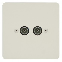 Focus SB Horizon HPW23.2 2 gang isolated co-axial TV socket in Primed White