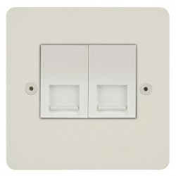 Focus SB Horizon HPW24.2W 2 gang master telephone socket in Primed White with white inserts