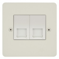 Focus SB Horizon HPW25.2W 2 gang slave telephone socket in Primed White with white inserts
