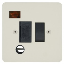 Focus SB Horizon HPW29.1B 13 amp switched fuse spur with cord outlet and neon in Primed White with black inserts