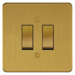 Focus SB Horizon HSB11.2 trimless 2 gang 20 amp 2 way rocker switch in Satin Brass