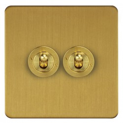 Focus SB Horizon HSB14.2 2 gang 20 amp 2 way toggle switch in Satin Brass