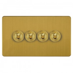 Focus SB Horizon HSB14.4 4 gang 20 amp 2 way toggle switch in Satin Brass