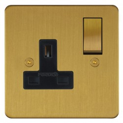 Focus SB Horizon HSB18.1B 1 gang 13 amp switched socket in Satin Brass with black inserts