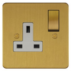 Focus SB Horizon HSB18.1W 1 gang 13 amp switched socket in Satin Brass with white inserts