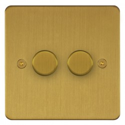 Focus SB Horizon HSB21.2 2 gang 2 way 250W (mains and low voltage) dimmer in Satin Brass