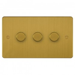 Focus SB Horizon HSB21.3 3 gang 2 way 250W (mains and low voltage) dimmer in Satin Brass