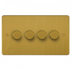 Focus SB Horizon HSB21.4 4 gang 2 way 250W (mains and low voltage) dimmer in Satin Brass
