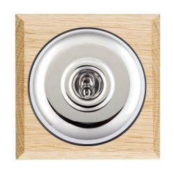 Hamilton Bloomsbury Chamfered Light Oak Plain Bright Chrome 1 Gang Double Pole Toggle with Black Insert
