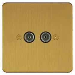 Focus SB Horizon HSB23.2 2 gang isolated co-axial TV socket in Satin Brass