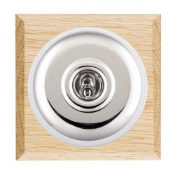 Hamilton Bloomsbury Chamfered Light Oak Plain Bright Chrome 1 Gang Double Pole Toggle with White Insert