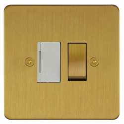 Focus SB Horizon HSB26.1W 13 amp switched fuse spur in Satin Brass with white inserts