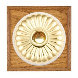 Hamilton Bloomsbury Chamfered Medium Oak Fluted Polished Brass Bell Push Toggle with White Insert