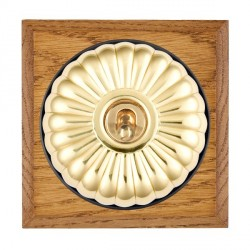 Hamilton Bloomsbury Chamfered Medium Oak Fluted Polished Brass 1 Gang 2 Way Toggle with Black Insert