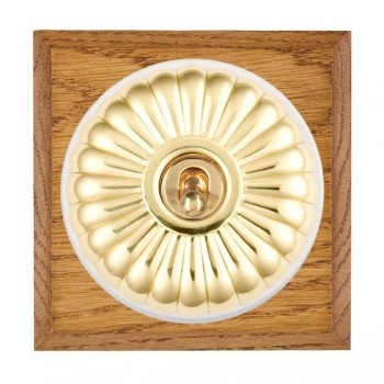 Hamilton Bloomsbury Chamfered Medium Oak Fluted Polished Brass 1 Gang 2 Way Toggle with White Insert