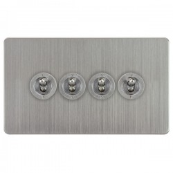 Focus SB Horizon HSC14.4 4 gang 20 amp 2 way toggle switch in Satin Chrome