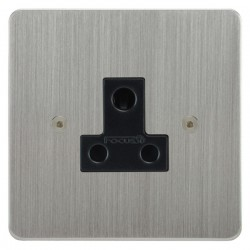 Focus SB Horizon HSC20.1B 1 gang 5 amp unswitched socket in Satin Chrome with black inserts