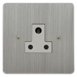 Focus SB Horizon HSC20.1W 1 gang 5 amp unswitched socket in Satin Chrome with white inserts