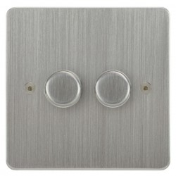 Focus SB Horizon HSC21.2 2 gang 2 way 250W (mains and low voltage) dimmer in Satin Chrome