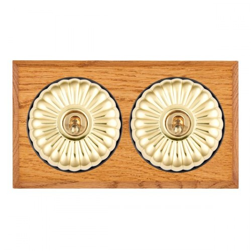 Bloomsbury Chamfered Medium Oak Fluted Polished Brass 2 Gang Intermediate Toggle