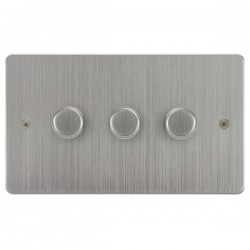 Focus SB Horizon HSC21.3 3 gang 2 way 250W (mains and low voltage) dimmer in Satin Chrome