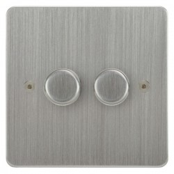 Focus SB Horizon HSC22.2 2 gang 2 way 400W (mains and low voltage) dimmer in Satin Chrome