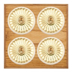 Hamilton Bloomsbury Chamfered Medium Oak Fluted Polished Brass 4 Gang 2 Way Toggle with White Insert