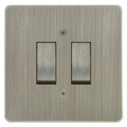 Focus SB Horizon HSN11.2 trimless 2 gang 20 amp 2 way rocker switch in Satin Nickel