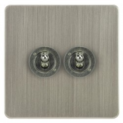 Focus SB Horizon HSN14.2 2 gang 20 amp 2 way toggle switch in Satin Nickel