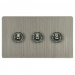 Focus SB Horizon HSN14.3 3 gang 20 amp 2 way toggle switch in Satin Nickel