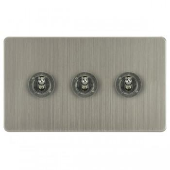 Focus SB Horizon HSN14.3 3 gang 20 amp 2 way toggle switch in Satin Nickel