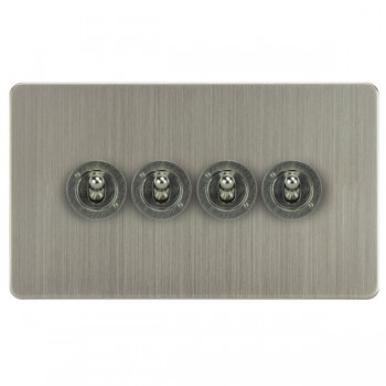 Focus SB Horizon HSN14.4 4 gang 20 amp 2 way toggle switch in Satin Nickel