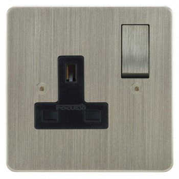 Focus SB Horizon HSN18.1B 1 gang 13 amp switched socket in Satin Nickel with black inserts